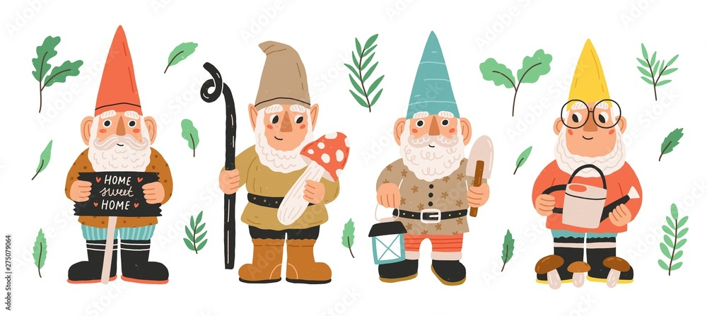Fototapeta Collection of garden gnomes or dwarfs holding lantern, banner, mushroom, watering can. Set of cute fairytale characters. Bundle of lawn ornaments or decorations. Flat cartoon vector illustration.