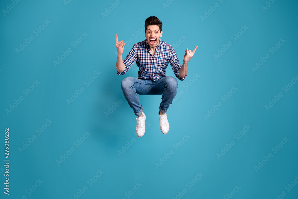 Fototapety, obrazy: Full length body size view photo charming rejoice positive cheerful youth free time holidays shout dream dreamy playful wear fashionable plaid jeans clothes legs sneakers isolated blue background