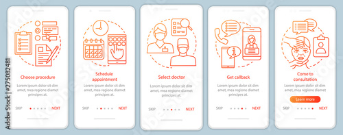 Photo  Practitioner consultation onboarding mobile app page screen vector template