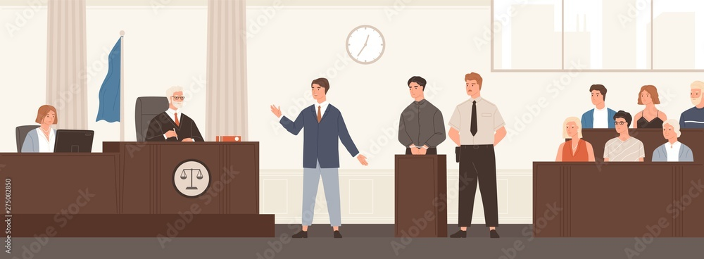 Fototapeta Advocate or barrister giving speech in courtroom in front of judge and jury. Legal defence, public hearing and criminal procedure at court or tribunal. Flat cartoon colorful vector illustration.