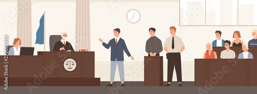 Advocate or barrister giving speech in courtroom in front of judge and jury Wallpaper Mural