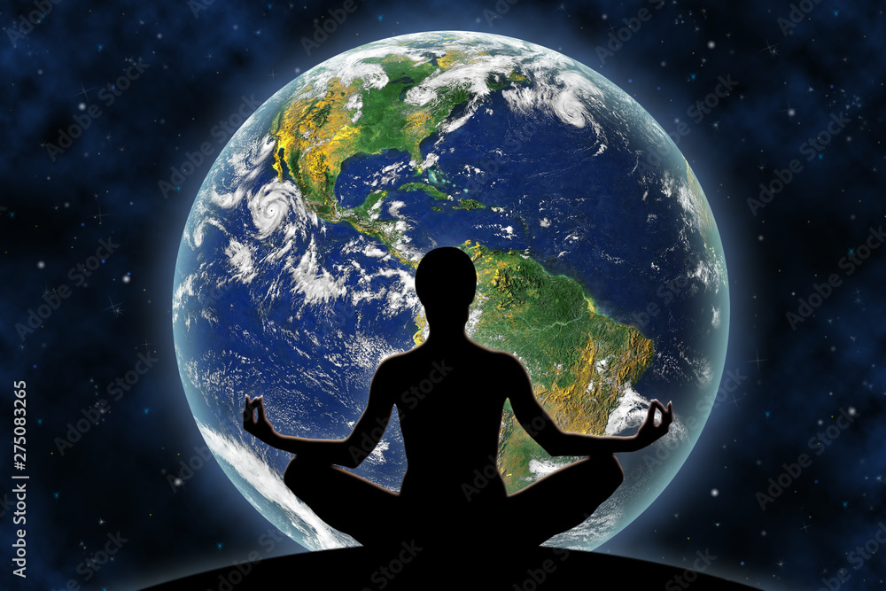 Fototapeta Female yoga figure against a space background and a planet Earth. Elements of this image furnished by NASA.