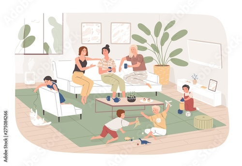 Aluminium Prints Wild West Group of women sit in cozy room, drink tea and talk to each other while their children play. Young moms spending time together at home. Friendly meeting. Flat cartoon colorful vector illustration.