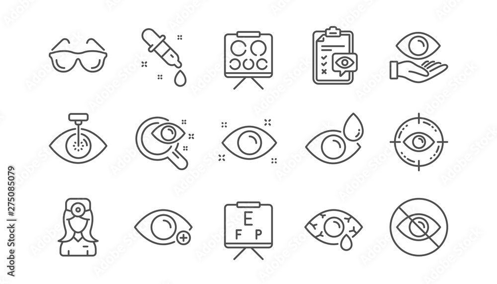 Fototapeta Optometry, Eye doctor line icons. Medical laser surgery, glasses and eyedropper. Pink eye, Cataract surgery and allergy icons. Optician board, oculist chart. Linear set. Vector