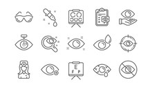 Optometry, Eye Doctor Line Icons. Medical Laser Surgery, Glasses And Eyedropper. Pink Eye, Cataract Surgery And Allergy Icons. Optician Board, Oculist Chart. Linear Set. Vector