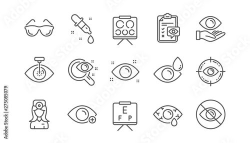 Obraz Optometry, Eye doctor line icons. Medical laser surgery, glasses and eyedropper. Pink eye, Cataract surgery and allergy icons. Optician board, oculist chart. Linear set. Vector - fototapety do salonu