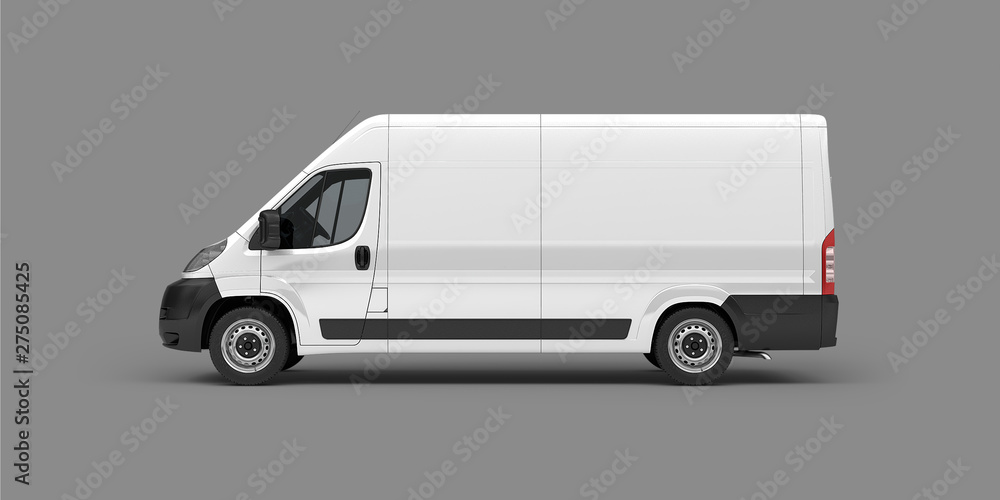 Fototapety, obrazy: Van for transportation of goods on a gray background