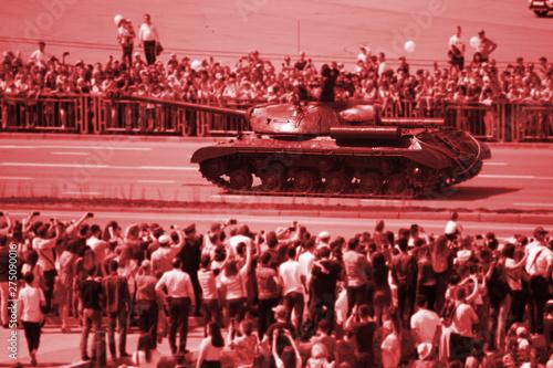 Fotografija  tank moving through city streets. Russia, Kazan, 9.05.2019