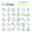 Set Vector Line Icons of Business Technology