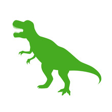 Dinosaur T-Rex Vector Silhouette. Roaring Green Tyrannosaurus Silhouette Isolated