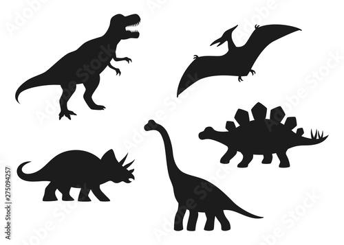 Dinosaur vector silhouettes - T-rex, Brachiosaurus, Pterodactyl, Triceratops, Stegosaurus Canvas Print