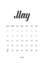 Vector Calendar For May 2020. Handwritten Lettering. Week Starts Sunday. Stationery Design. Objects Isolated On White Background.