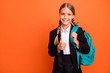 Leinwandbild Motiv Close up photo beautiful she her little lady funky funny hairdo hand arm thumb raised up approval quality news wear formalwear shirt blazer skirt school form bag isolated bright orange background