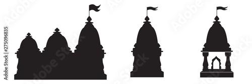 Obraz na plátně Hindu spiritual temple black silhouette