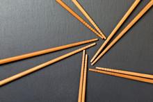 Many Bamboo Chopsticks On Blac...
