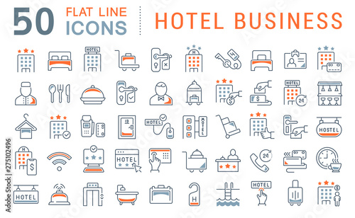 Set Vector Line Icons of Hotel Business Wallpaper Mural