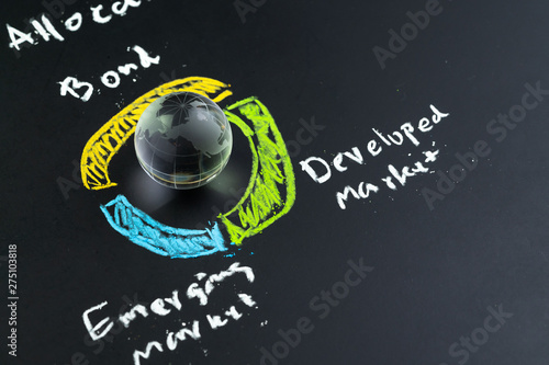 Global Asset Allocation investment concept, decoration globe with