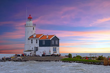 Traditional Lighthouse 'Het Paard Van Marken' In Marken The Netherlands