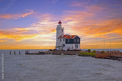 Canvas Prints Horses Traditional lighthouse 'Het Paard van Marken' in Marken the Netherlands