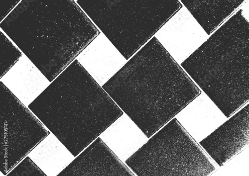 Fototapety, obrazy: Distress old brick wall texture. Black and white grunge background. Vector illustration.