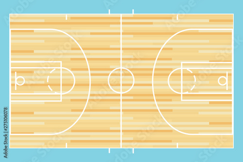 Basketball court vector Wallpaper Mural