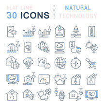Set Vector Line Icons Of Natur...