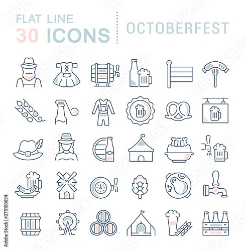 Carta da parati Set Vector Line Icons of Octoberfest