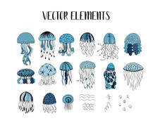 Vector Set Of Jellyfish Style ...