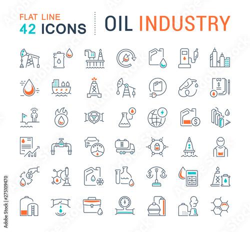 Fototapeta Set Vector Line Icons of Oil Industry obraz