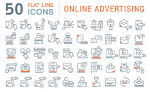 Set Vector Line Icons Of Onlin...