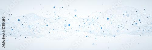 Obraz Template for science and technology presentation. Plexus style background. - fototapety do salonu