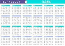 Collection Linear Icons Of Tec...