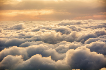 Fototapeta Niebo View of the clouds from above at dawn