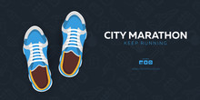 Running Club, City Marathon Banner With Sneakers.