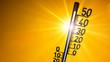 Leinwanddruck Bild - Hot summer or heat wave background, glowing sun on orange sky with thermometer