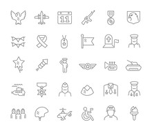 Set Vector Line Icons Of Veterans Day