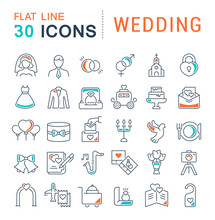 Set Vector Line Icons Of Wedding