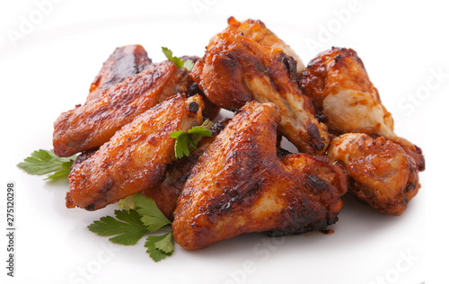 Fotografiet Plate of delicious barbecue chicken wings