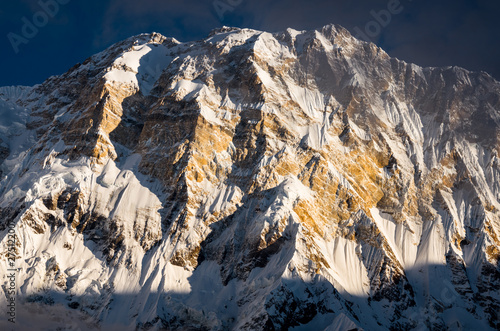 Annapurna at Sunrise, Mountain Ridge at Dawn, Snow and Exposed Rock, Nepal