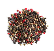 Heap Of Mixed Peppercorns Isolated On White, Top View