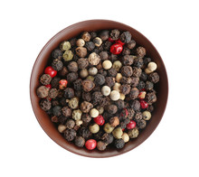 Bowl Of Mixed Peppercorns Isolated On White, Top View