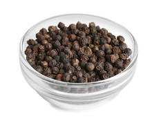 Bowl Of Black Peppercorns Isolated On White
