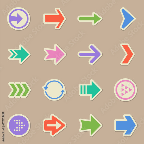 Fototapeta web arrows color sticker vector icons. arrows paper labels with transparent shadow on beige background for web, mobile and user interface design obraz na płótnie
