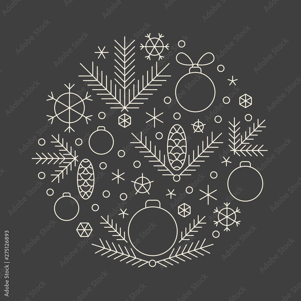 Fototapeta Minimalistic linear new year round ornament