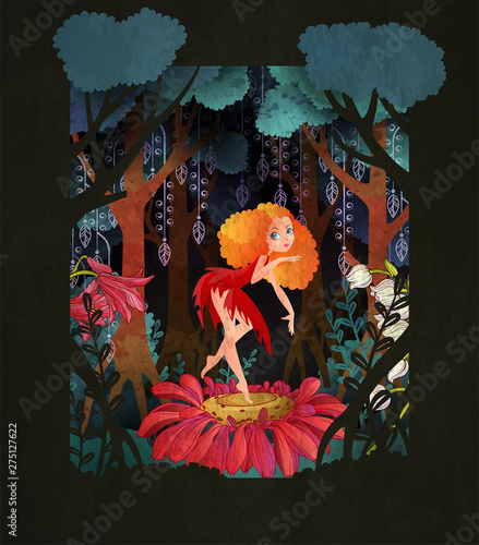 Cute fairy dancing on the flower in front of magic forest. Fairy tale vector illustration.