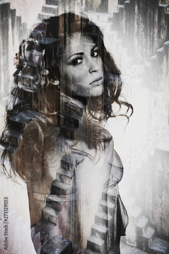 Poster Inspiration painterly portrait of young beautiful woman double exposure