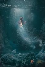 Underwater Fantasy Scene Half Woman Half Jellyfish   Swims To The Surface