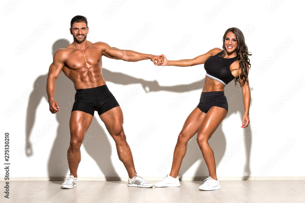 Fototapety, obrazy: Beautiful Fitness Couple Posing Together