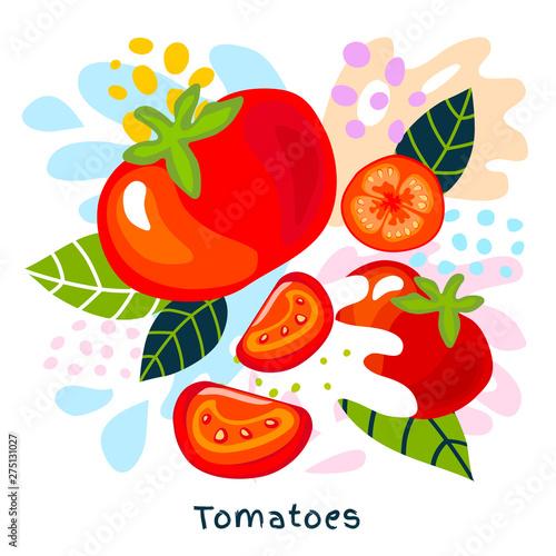 Fresh ripe tomato vegetable juice splash organic food juicy tomatoes vegetables splatter on abstract background vector hand drawn illustrations Wall mural