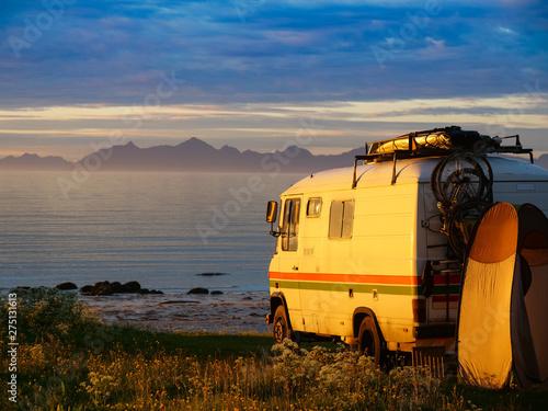 Poster Camping Camper car on beach, Lofoten islands, Norway